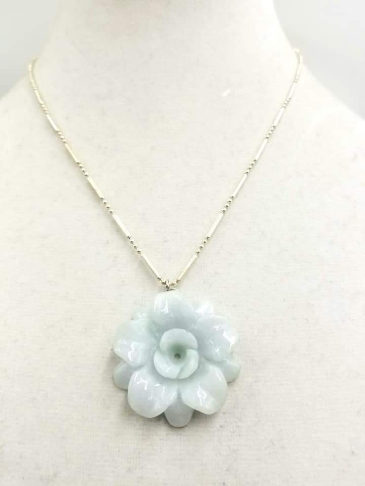 Celadon jadeite rose sterling silver pendant necklace.