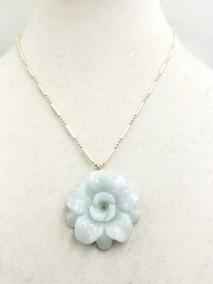 Past Work. Celadon jadeite rose sterling silver pendant necklace. SOLD! Sold