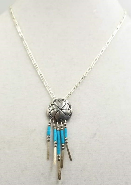 Turquoise And Sterling Silver Concho Pendant Necklace