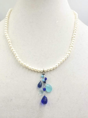 Pearl & art glass, sterling silver pendant necklace with adjustable clasp.
