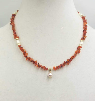 Fire opal & pearl 14KYG pendant necklace on blue silk. Very special necklace at 19