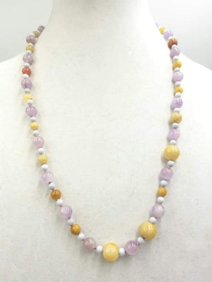 Multi-color jadeite & lace agate, 14KYG necklace on pink silk. 26
