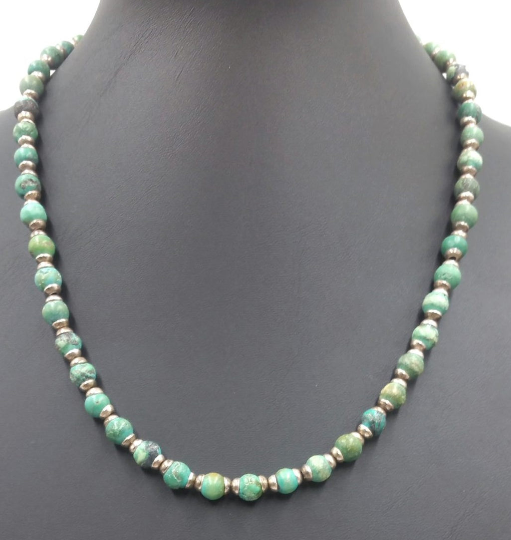 SOLD, Sterling silver turquoise toggle clasp necklace.