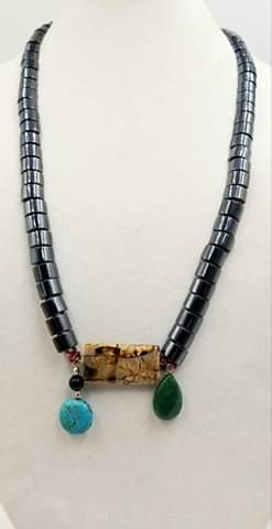 """Cave of Wonders"" Bold! Hematite, agate, dyed quartz, onyx, howlite sterling accent necklace on raspberry silk. 32"" Opera Length"