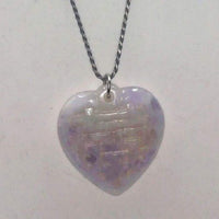 "Past Work. Large lavender jadeite lucky heart pendant on long sterling silver chain. 30"" Opera length. Sold."
