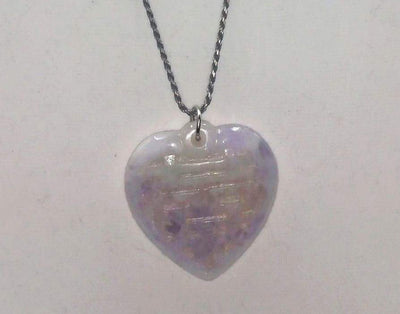 Large lavender jadeite lucky heart pendant on long sterling silver chain. 30