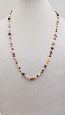 "Stunning! Pearl & Garnet necklace on bright red silk with 14KYG clasp. 27"" Opera length."