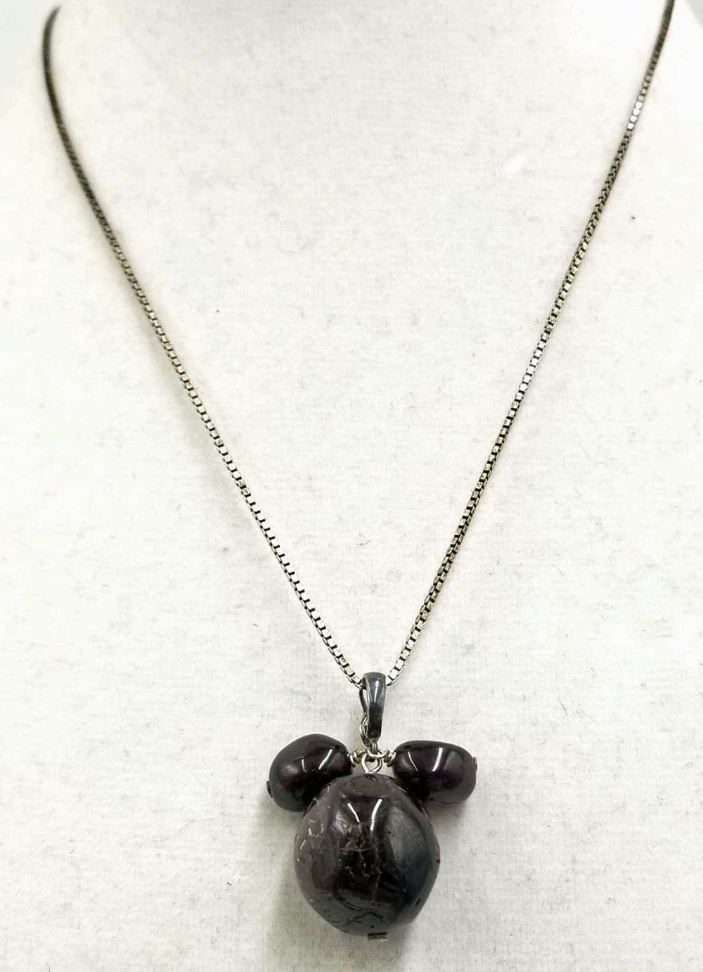 SOLD, Triple garnet Sterling Silver necklace.