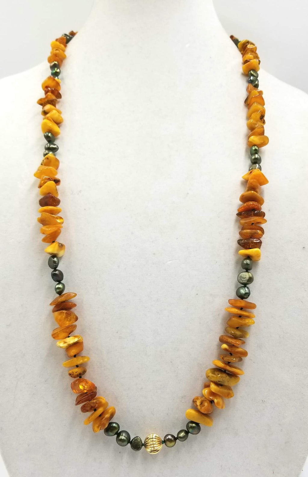 Vintage Baltic amber, green-black pearls, 14KYG, Opera length necklace. Currently available at the Assistance League of Greater Portland in Beaverton, OR.