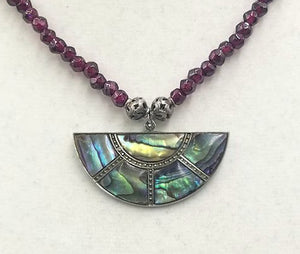 Past Work. Spectacular! Vintage abalone & sterling silver pendant on faceted garnet necklace. /Sold