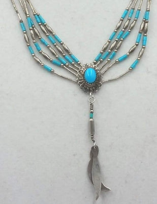 Beautiful! Liquid sterling silver and turquoise pendant necklace. Vegan.