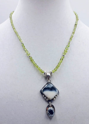 For the forest fairy mod. Peridot, dendritic glass, agate, & sterling silver pendant necklace.