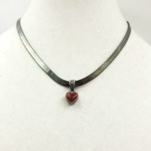 SOLD! Carnelian Heart Pendant with sterling silver herringbone chain.