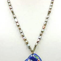 Cloisonne Nautilus pendant adjustable necklace, sterling silver, pearl, labradorite.