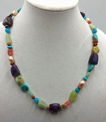 SOLD. Brightly colored celebration of spring, multi-stone necklace.