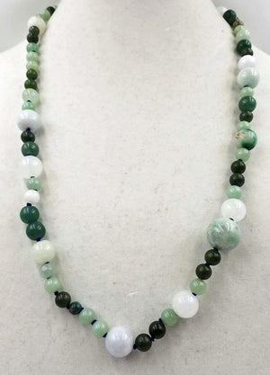 "Classic. Green & white jadeite, nephrite necklace on silk. 27"" MatineeClass length."