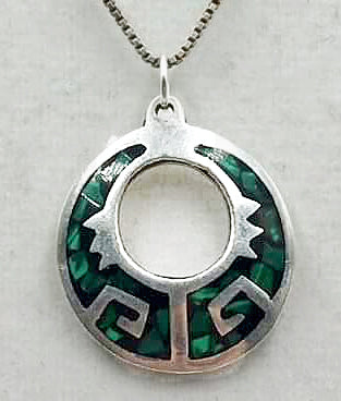 Sterling silver malachite pendant necklace.