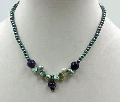 Pretty Bluebird. Black & blue pearls, amethyst, abalone,pendant necklace.