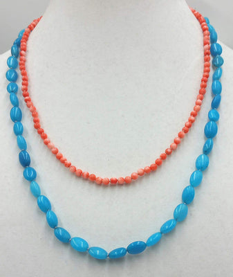 Two strand blue quartz and peach coral sterling toggle necklace on pink and grey silk. 20 in Matenee