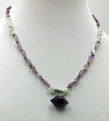 Amethyst & White Jadeite, sterling silver, pendant necklace, on silk.19