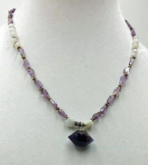 "Amethyst & White Jadeite, sterling silver, pendant necklace, on silk.19"" Princess length."
