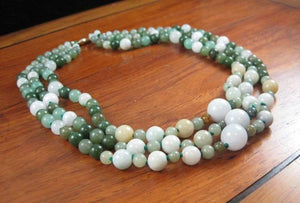 Gorgeous! Mult-color jadeite, nephrite, and hard-stone, three strand 14KYG necklace.