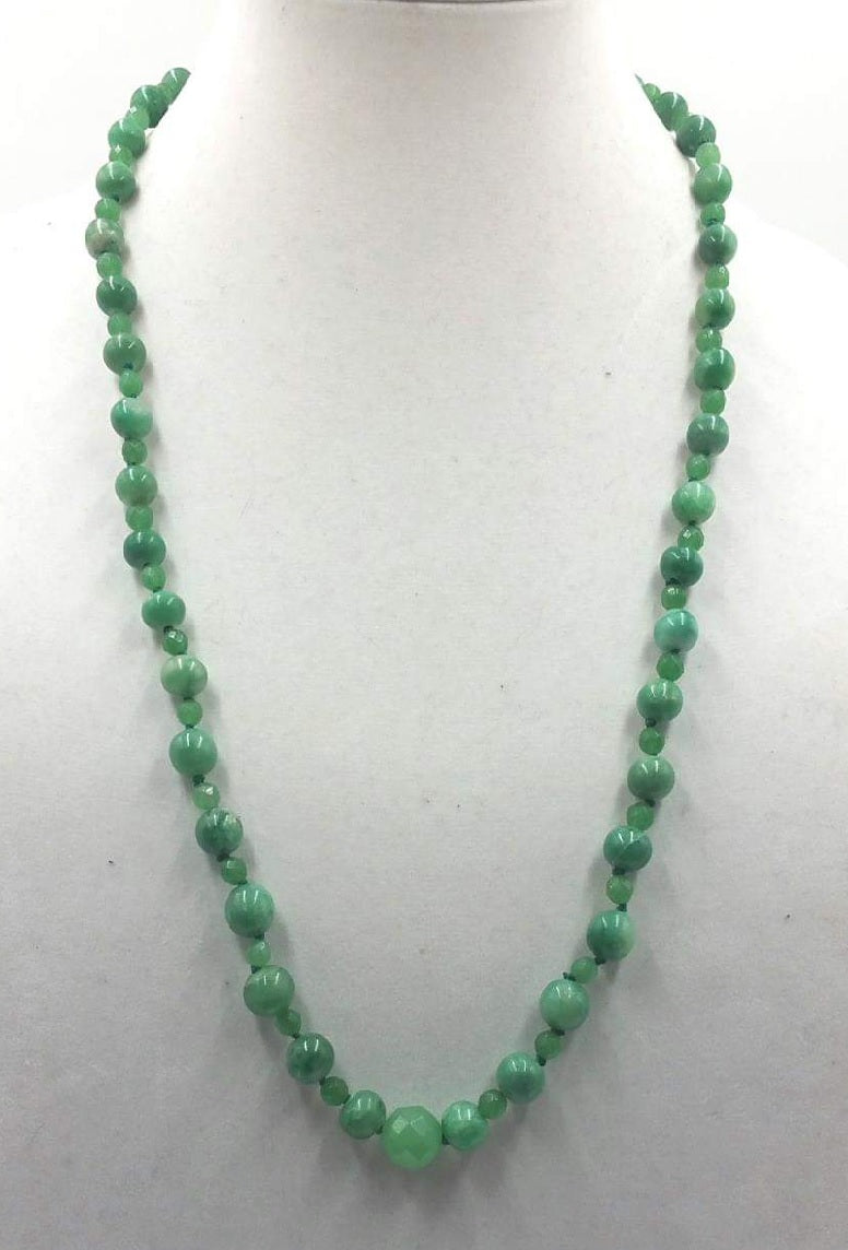 "Opera length.  aventurine necklace with sterling accents and clasp on verde silk. 29.5"" Opera length."