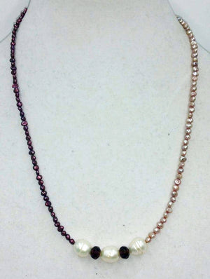 Long tri-tone (cranberry, white, & pale peach) pearl and art glass sterling silver necklace.