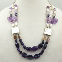 Wild, bold, gorgeous, two-strand amethyst, pearl, shell, & sterling silver necklace.