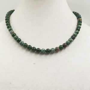 Spinach nephrite jade, tree & Indian agate necklace with sterling accents. Silvertone clasp.