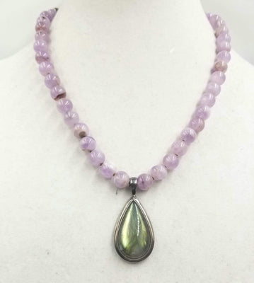 Sold. Lavender jadeite necklace with large labradorite pendent, sterling silver, hand-knotted with coppertone silk. Sold.