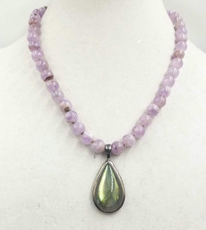 Lavender jadeite necklace with large labradorite pendent, sterling silver. Currently at The Assistance League of Greater Portland in Beaverton, Oregon.