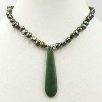 """Willamette Valley Winter"" A homage to the valley's green & grey winters with spinach jade & pearls. 17.25"" Princess length."