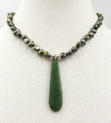 """Willamette Valley Winter"" A homage to the valley's green & grey winters with spinach jade & pearls."