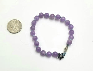 "Lavender jadeite, blue sapphire 10KWG bracelet on sky blue silk. Very pretty. 7.5"" length."