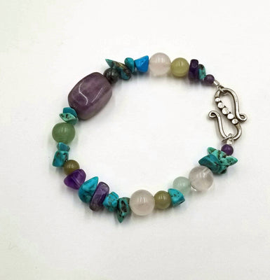 Amethyst, jadeite, dyed howlite, and rose quartz sterling silver bracelet.  6.75