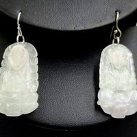 Gorgeous Pair of Serene Buddha icy jadeite & sterling silver pendant earrings.