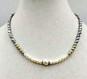 "SOLD! Adjustable sterling silver ombre freshwater cultured pearl necklace. 17.5-19.25"" Princess length."