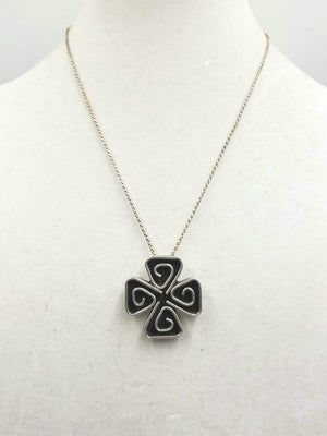 Heavy sterling silver Celtic stylized shamrock pendant necklace. 19 in Matinee Length.