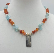 Carnelian, blue quartz, and sterling silver bamboo pendant necklace.