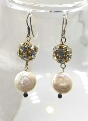 Classic Beauty. Sterling silver pearl, and rhinestone earrings. 1.5