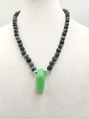 Snowflake Obsidian, and bright jadeite sterling silver necklace on verde silk. 22.5 in