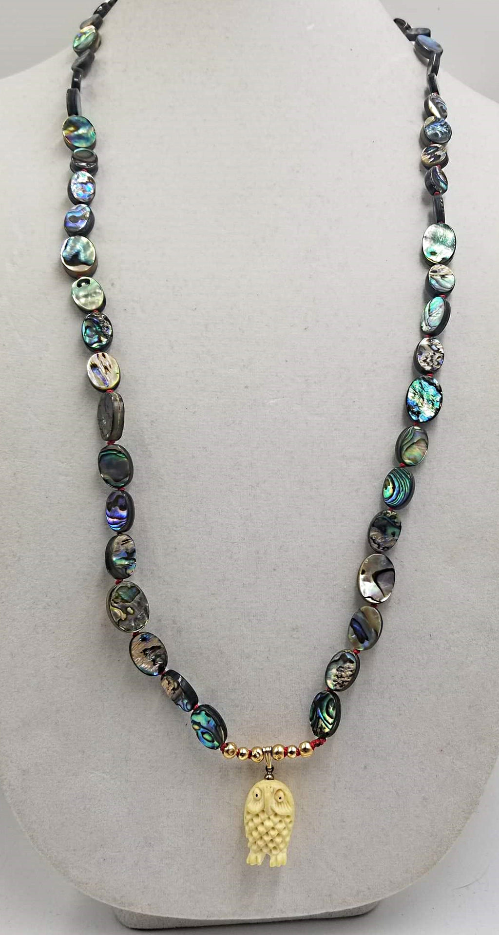 "Love Owls? Abalone and 14KYG long necklace with highly carved bone owl pendant. 35"" Rope length."