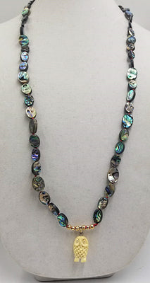 Love Owls? Abalone and 14KYG long necklace with highly carved bone owl pendant. 35