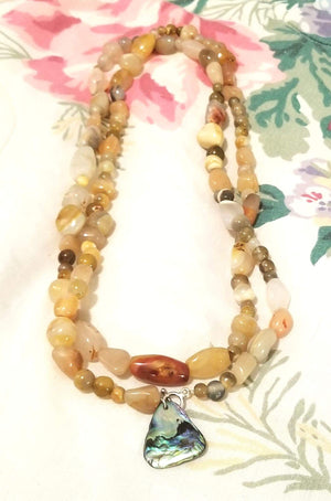Ultra long yellow agate sterling silver necklace with abalone pendant. 42 in.