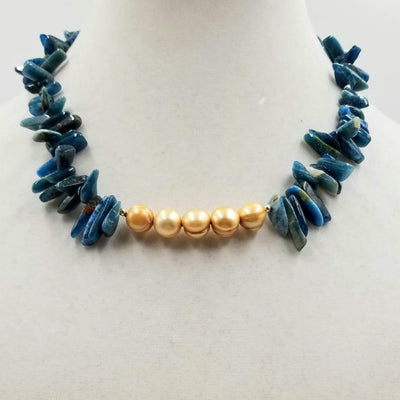 Made for Cleopatra! Golden dyed freshwater cultured pearls, blue apatite, and 14KYG necklace hand knotted on purple silk.
