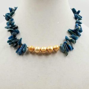 Golden dyed freshwater cultured pearls, blue apatite, and 14KYG necklace. 17""