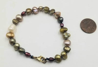 Unisex plus size multi-color pearl bracelet hand with gold fill clasp.  7.75