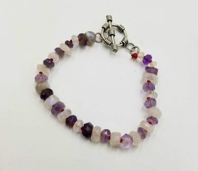 Faceted moonstone & amethyst bracelet, with sterling silver toggle.  6.25