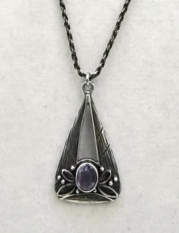 "Unique Art Nouveau pendant necklace, amethyst & sterling silver butterfly. 30"" Opera length."